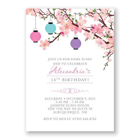 cherry blossom birthday invitation
