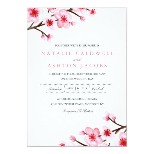 painted cherry blossoms wedding invite 161288025888774093