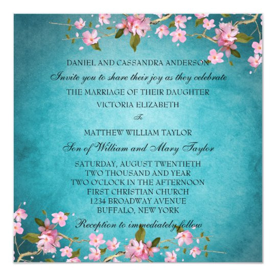 teal blue pink japanese cherry blossoms wedding invitation 161007830309195374