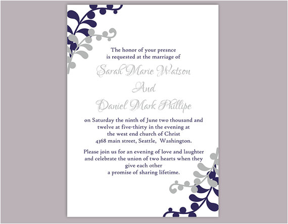 diy wedding invitation template editable word file instant download printable invitation silver gray wedding invitation navy blue invitation