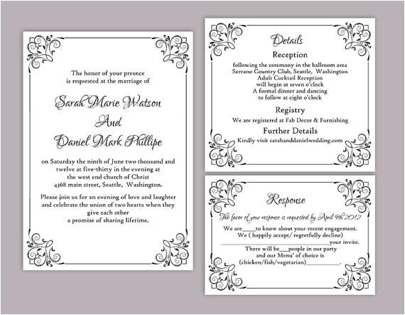 diy wedding invitation template set editable word file instant download printable invitation black invitation elegant wedding invitation
