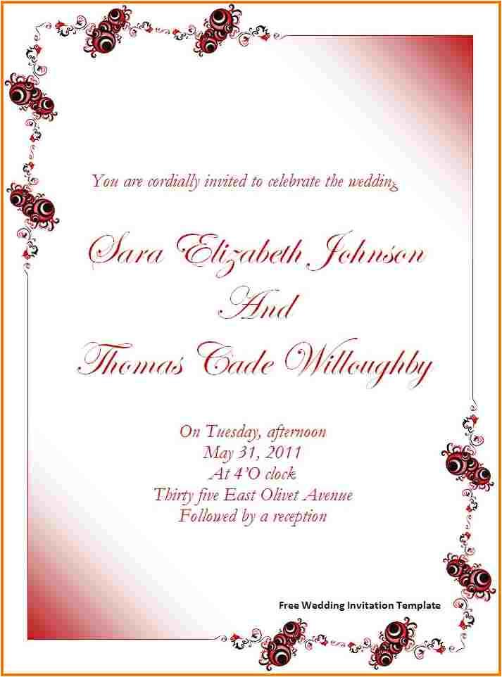 free wedding invitation templates for word