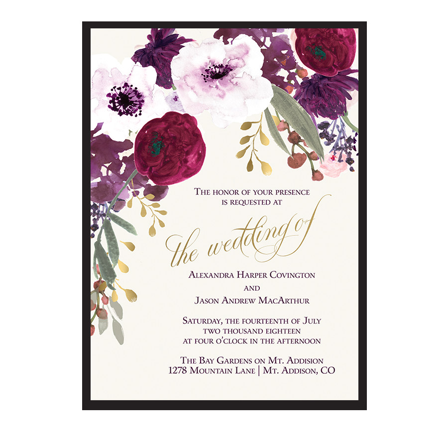 floral wedding invitations bohemian purple wine flowers