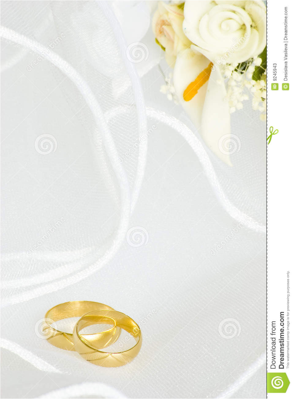 stock photos wedding invitation rings flowers over veil image9245943