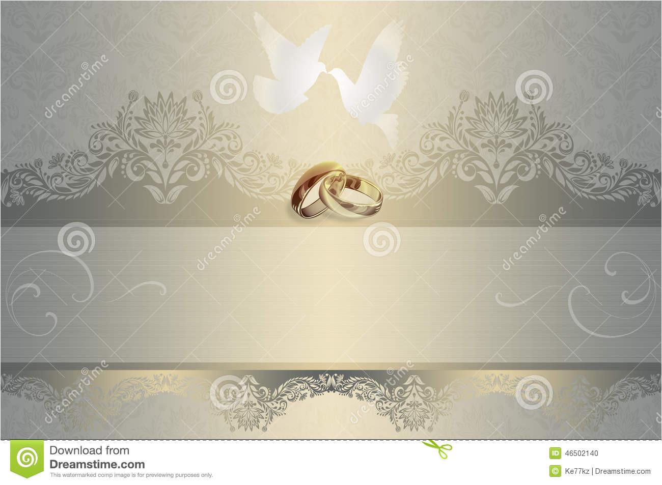 stock illustration wedding invitation template card white doves gold rings image46502140