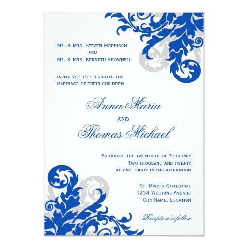 royal blue and silver flourish wedding invitation 161954992780844908