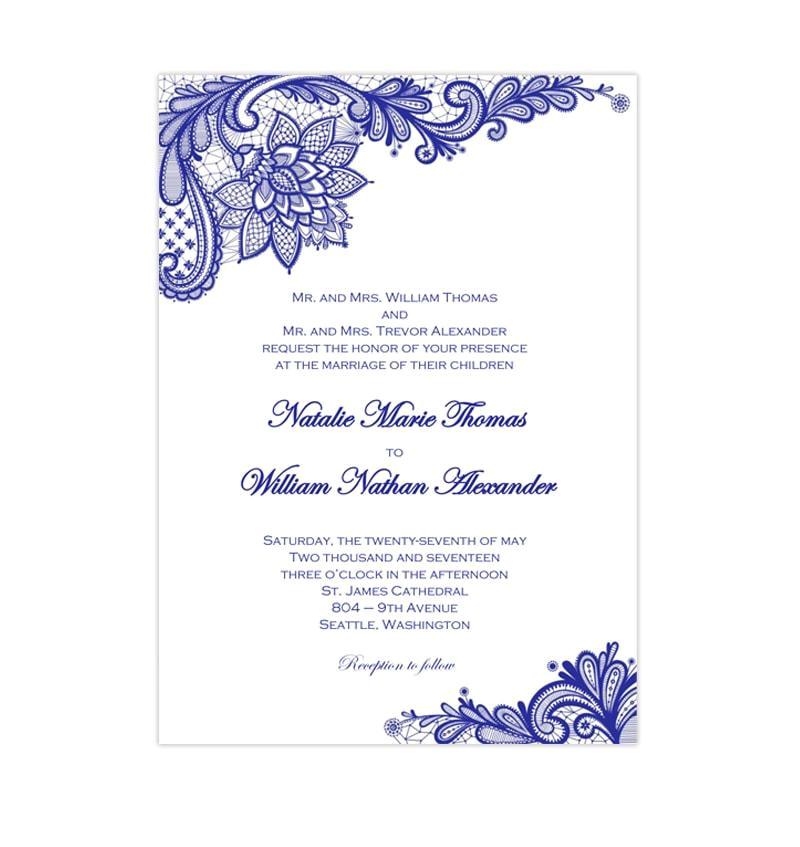 vintage lace wedding invitation royal blue