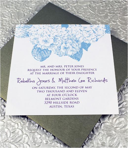 hydrangea square invitation template