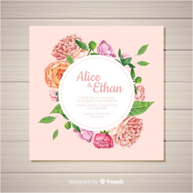 square wedding invitation template with peony flowers concept 2940565