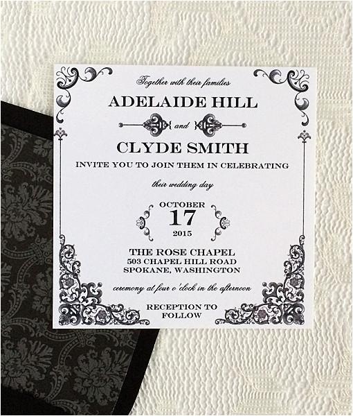 vintage iron lace square invitation template
