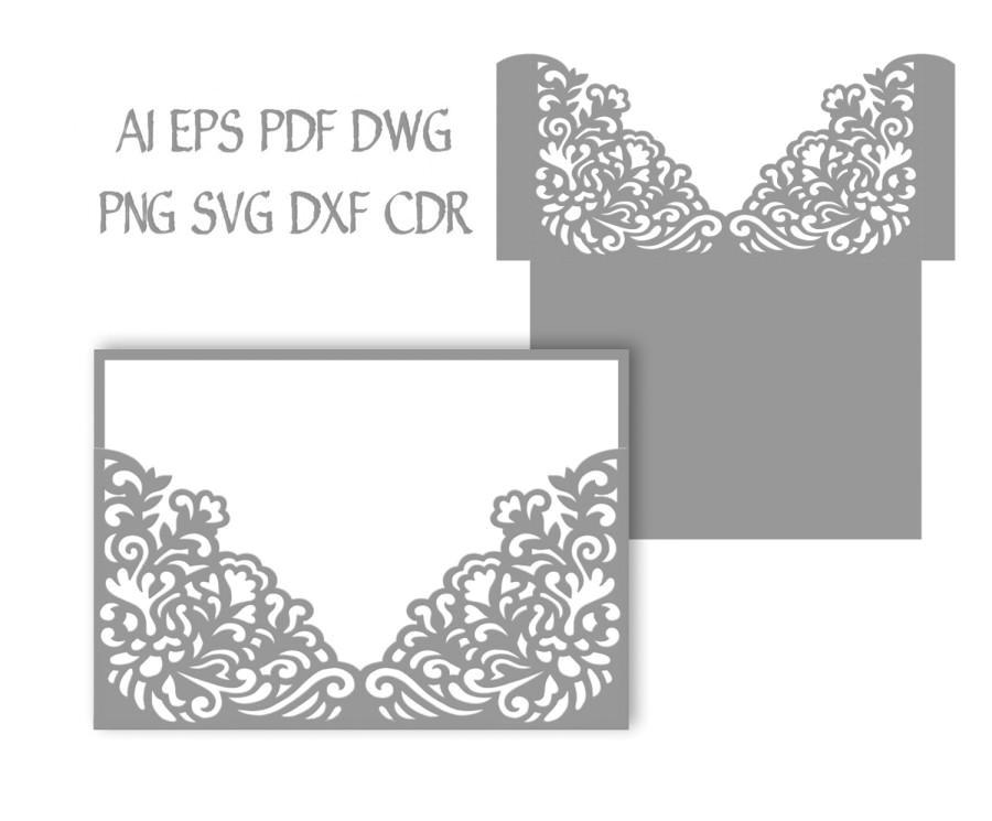 5x7 wedding invitation pocket envelope svg template quinceanera invitation laser cutting file silhouette cameo cricut instant download