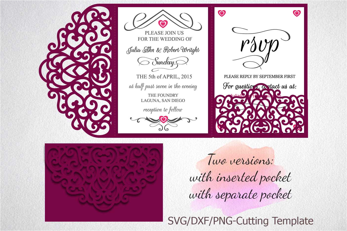 78803 tri fold wedding invitation pocket envelope svg dxf template