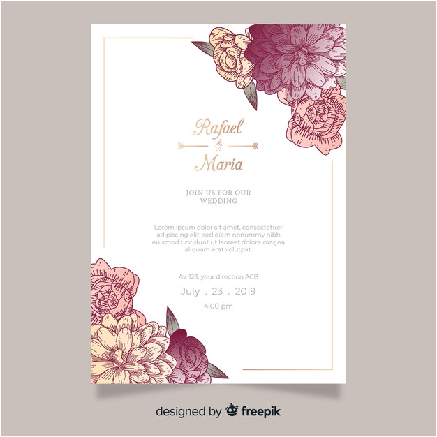 wedding invitation template with flowers 5126031