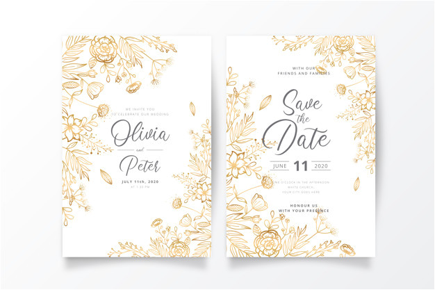 wedding invitation template with golden nature 5358454