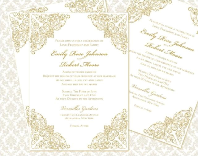 diy wedding invitation printable template 5x7 invitation instant download baroque calligraphy in gold