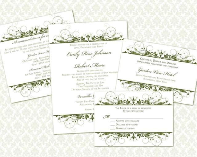 diy wedding invitation template set 5x7 invitation enclosure cards instant download leafy vines in forest
