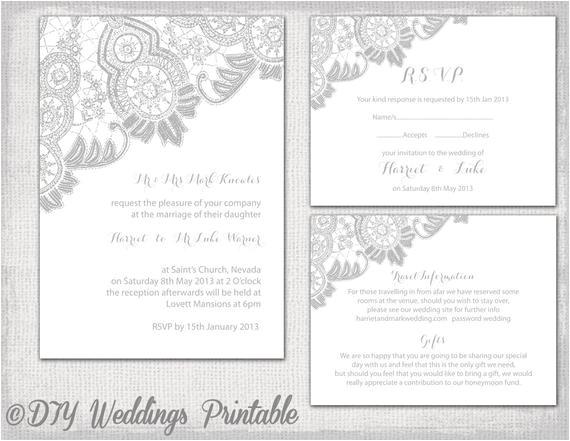 lace wedding invitation template silver