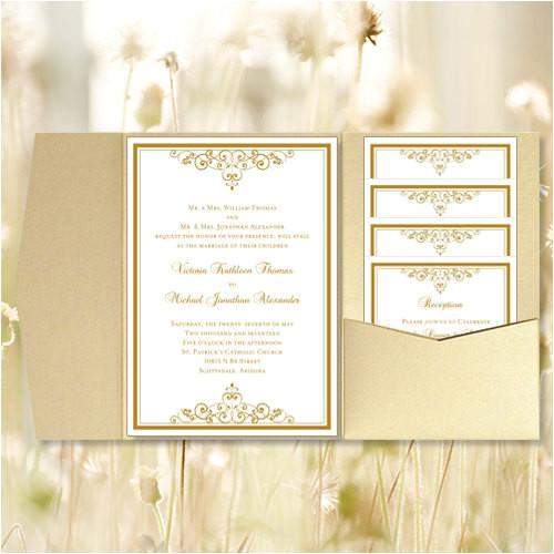 pocket fold wedding invitations vintage gold 5x7