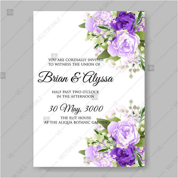 lavander violet purple lilac peony floral wedding invitation vector template watercolor greenery vector invitation floral background 30175