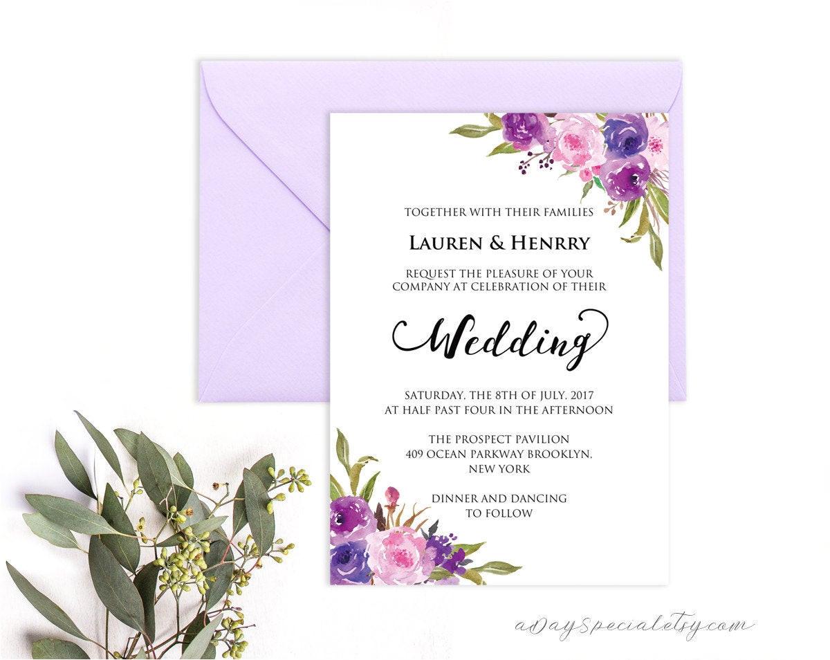 lavender invitation template purple