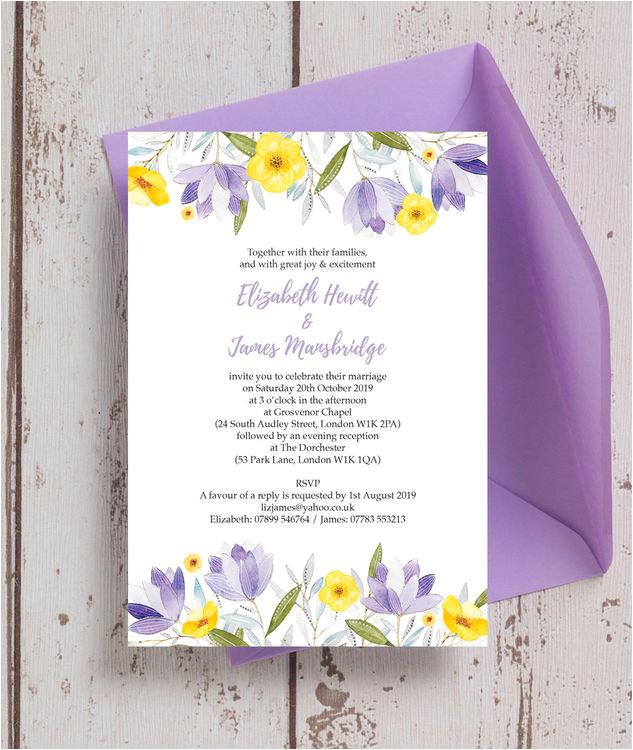 lilac lemon wedding invitation