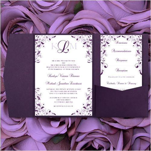 pocket fold wedding invitations kaitlyn purple 89 lilac 5x7