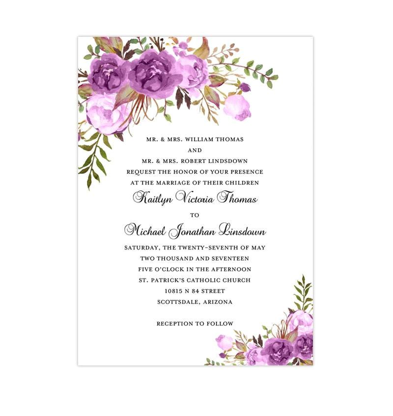 printable wedding invitation romantic blossoms purple lavender lilac