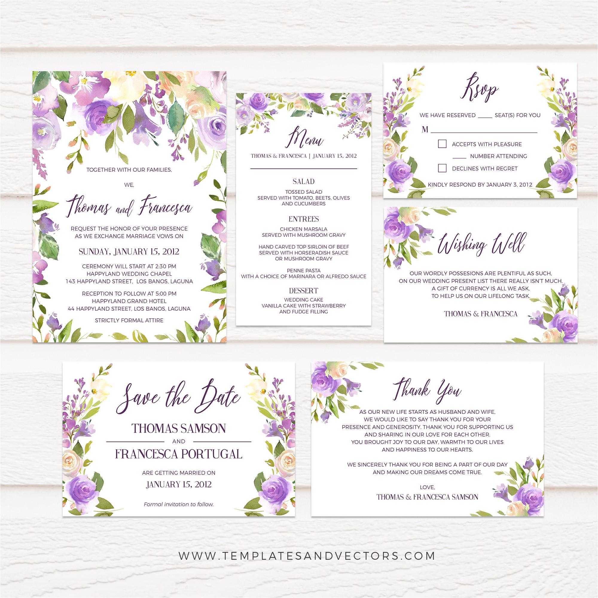 lilac peach watercolor floral wedding invitation suite tvw160