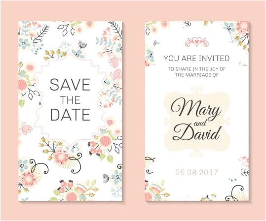 253953 wedding invitation card template with floral vectors 03