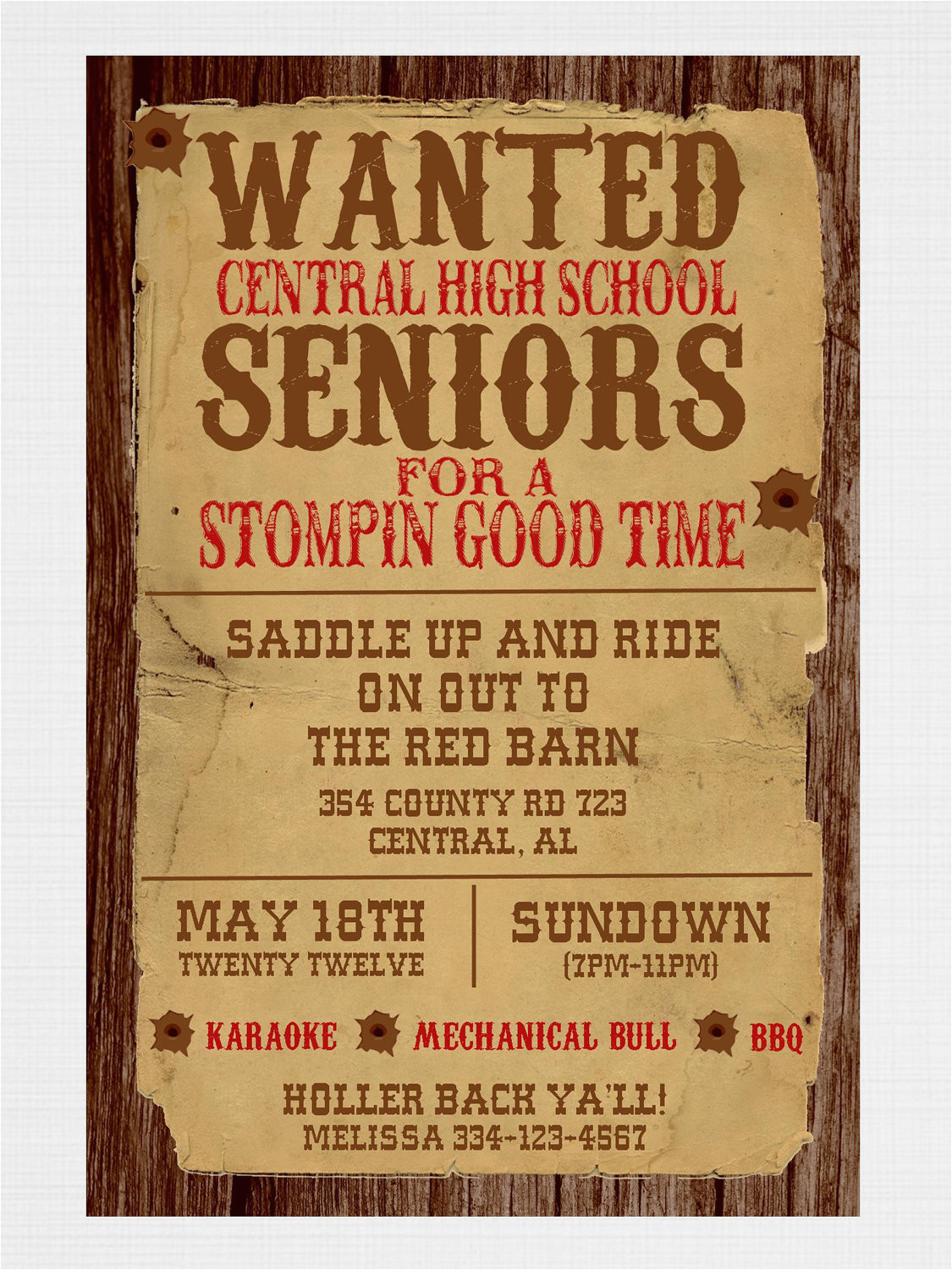 wanted poster western party invitation