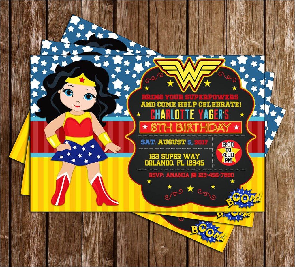 wonder woman superhero birthday party invitation