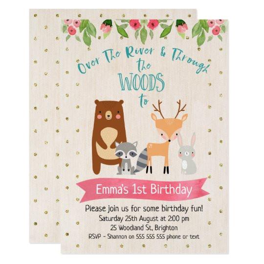 cute girls woodland animals birthday invitation 256326541042001661
