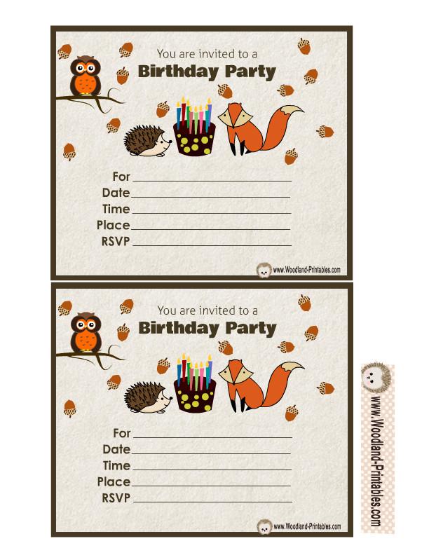 woodland forest birthday invitations