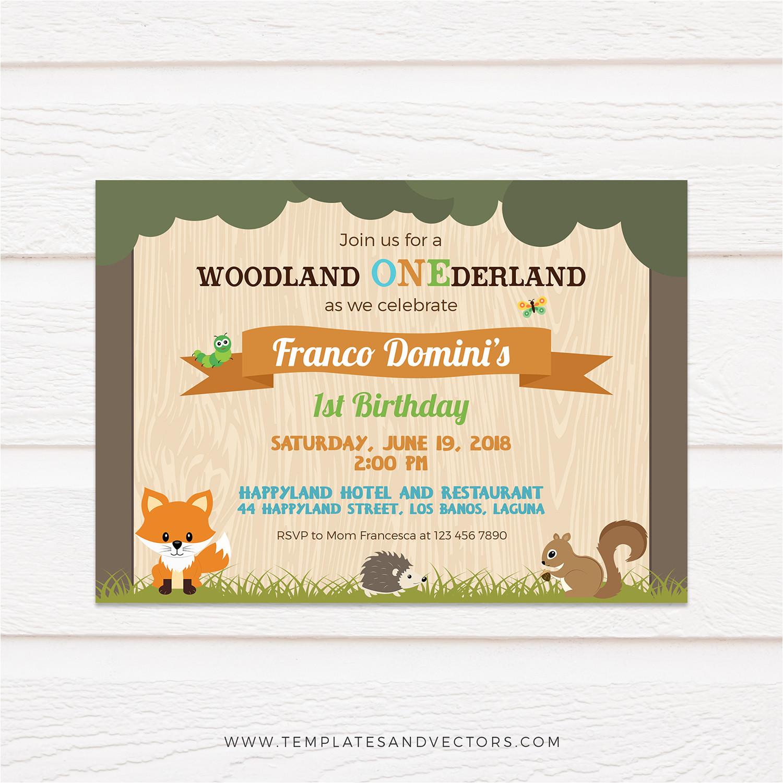 woodland animals birthday invitation 159