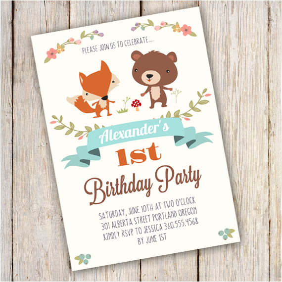 woodland birthday party invitation template edit with adobe reader