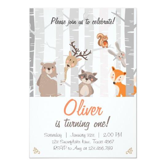 woodland first birthday invitation forest animals 256153498902743669