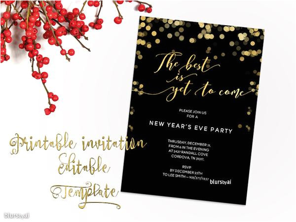 printable new years eve party invitation template for word in 5x7 featuring gold confetti the best is yet to come