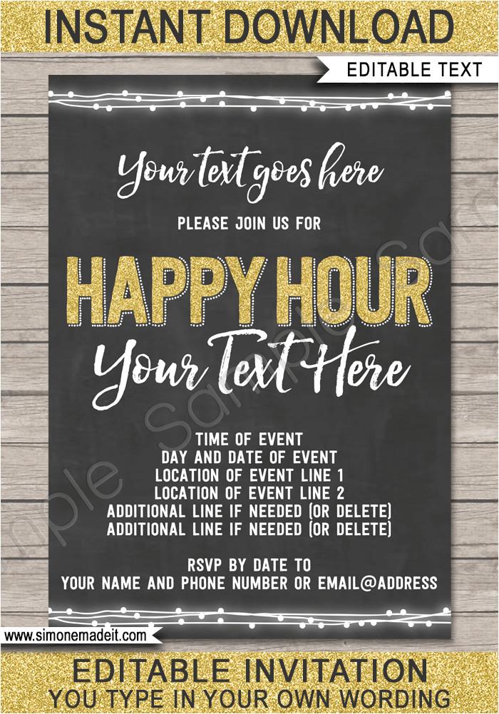 chalkboard happy hour invitation template