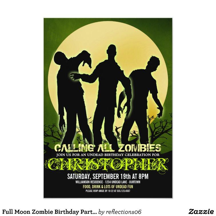 full moon zombie birthday party invitations 161196732427597737