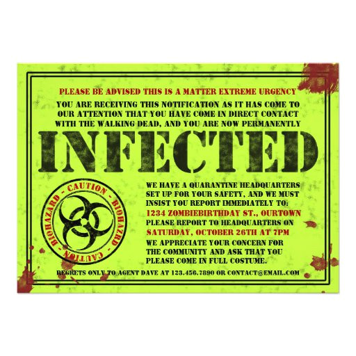 infected notice zombie birthday party invitations 161246024455605192