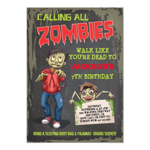 zombie birthday party invitations 256761689993373498