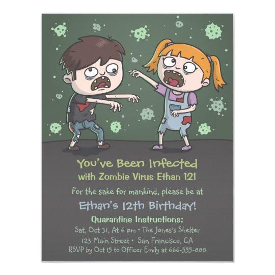 zombie kids halloween birthday party invitations 256245389938526119