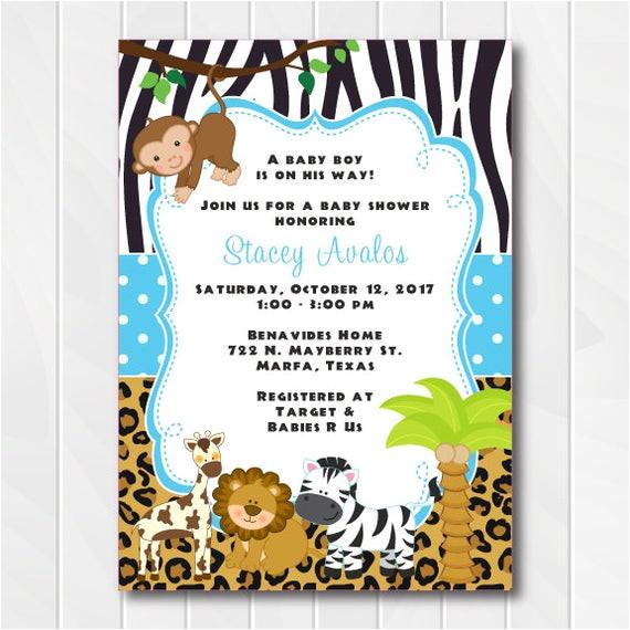 jungle safari invitations for boys