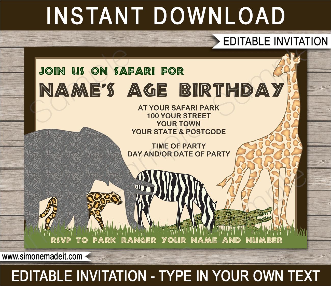 animal safari zoo party invitations