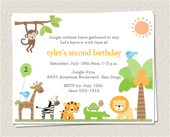 10 birthday party invitations jungle zoo by eclecticnotecards