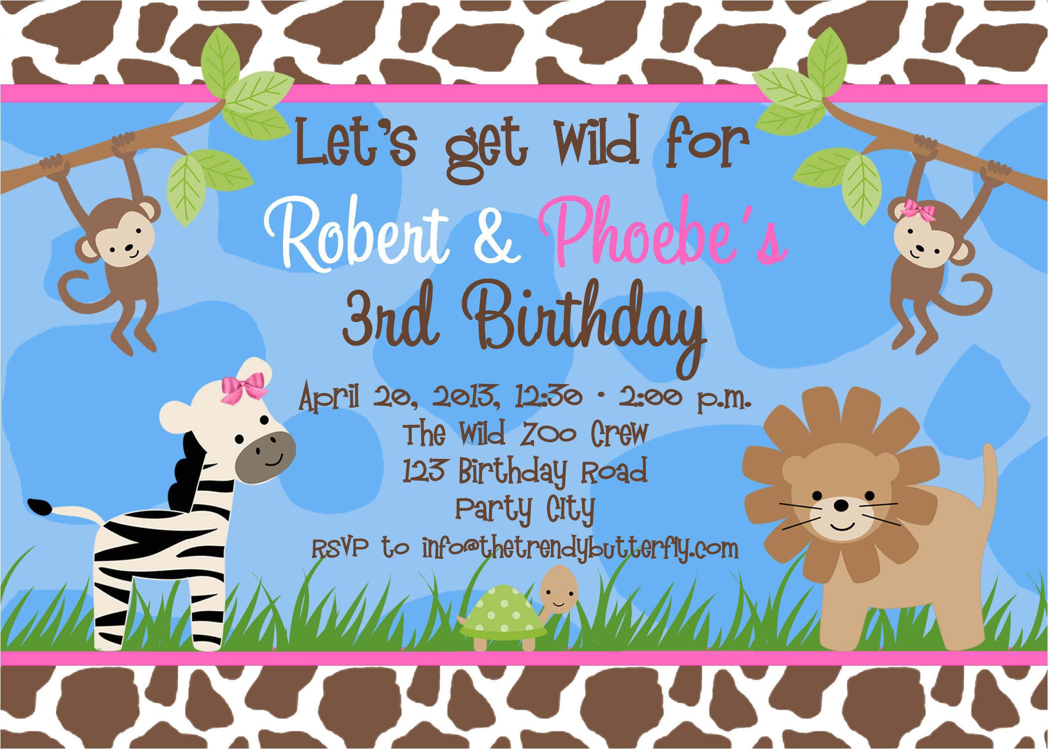 free animal birthday invitation