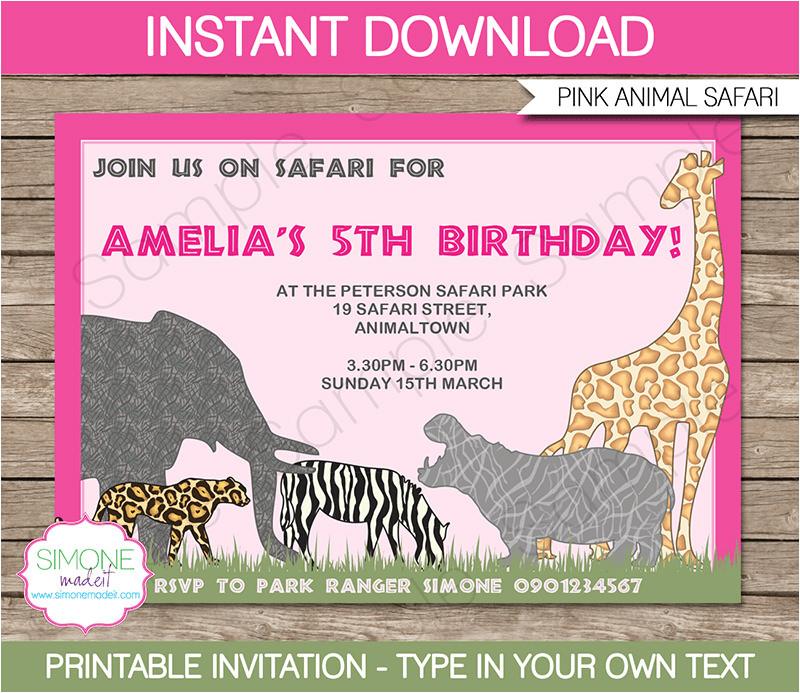p free printable safari animal birthday party invitations 28663