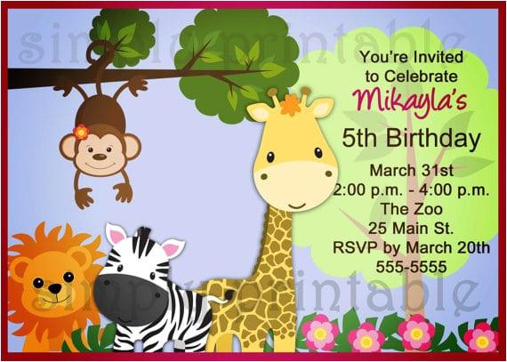 free printable animal party invitation