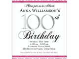 100th Birthday Party Invitation Wording Pink Scroll 100th Birthday Invitations
