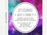11th Birthday Party Invitations Tween Birthday Party Invitation Nebula Galaxy Girls 11th